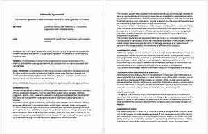 indemnity agreement template microsoft word templates With responsibility contract template