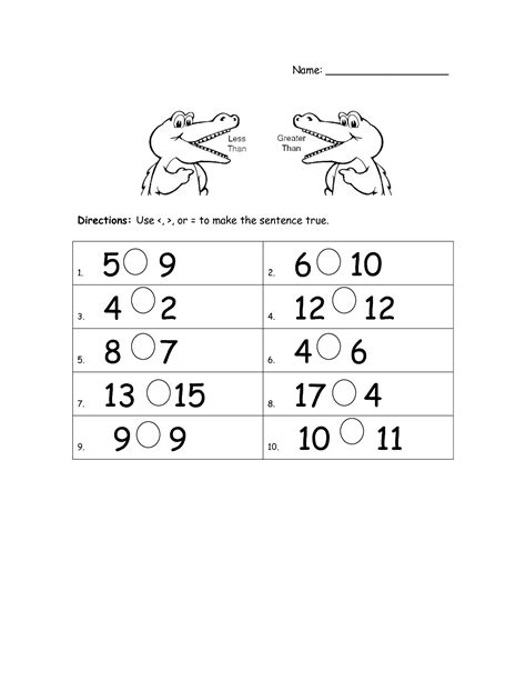 beautiful kindergarten greater than less than fun worksheet