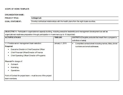 Scope Of Work Template 30 Ready To Use Scope Of Work Templates Exles Free