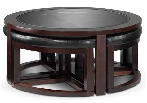 Seaton Coffee Table W Four Ottomans Furnitureca