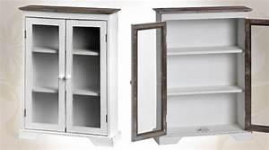 Meuble Style Campagne Chic : meuble tag re murale sous 2 portes vitr es style campagne ~ Farleysfitness.com Idées de Décoration