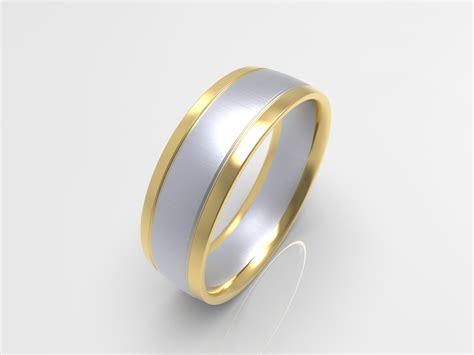xv brushed white and yellow gold two tone mens wedding band