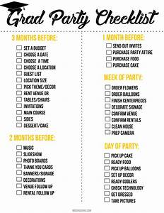 Graduation Party Printable Checklist - Mooshu Jenne