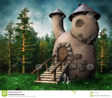 gnome cottage   green forest stock illustration