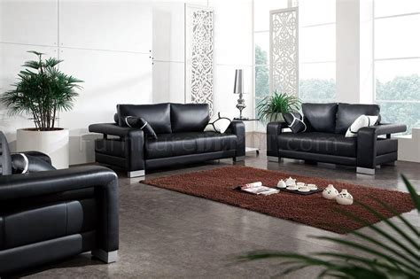 black leather modern pc living room set wpillows
