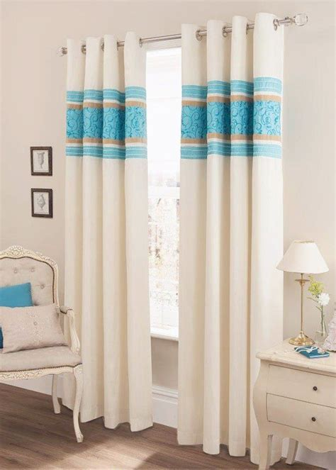teal blue faux silk lined curtains with eyelet
