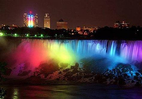 toronto savvy niagara falls turns on the rainbow lights