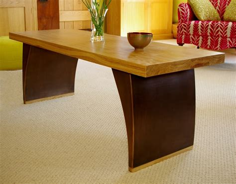 wood coffee table bronze finish solid oak top chris bose