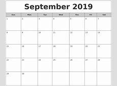 September 2019 Free Monthly Calendar