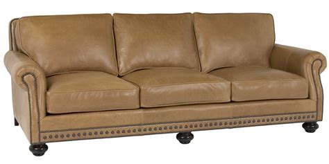 traditional style sofa bed leather pillow back sofa with rolled arms and nail trim