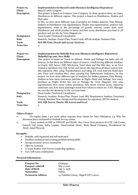 Lead Business Analyst Resume by Lead Business Analyst Resume Of Nitin Khanna