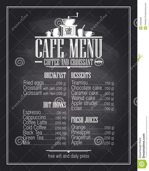Chalkboard Cafe Menu List Design With Dishes Name. Stock Vector   Image: 50999668