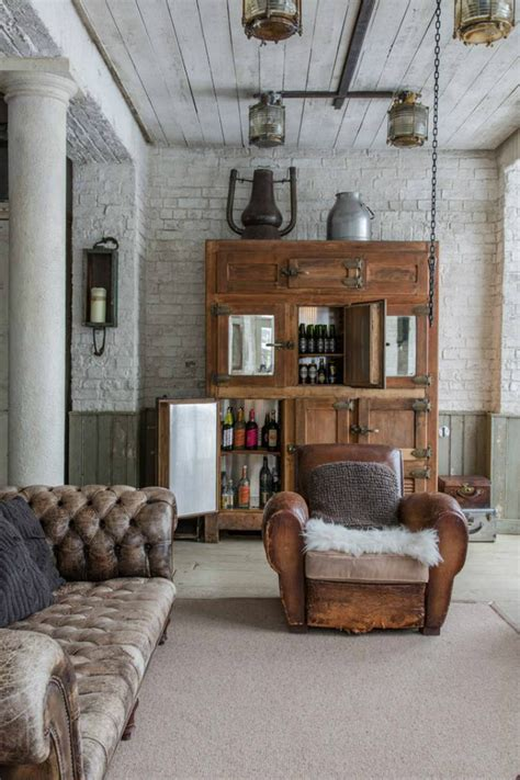 industrial style home   exposed brick walls