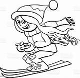 Ski Coloring Funny Cartoon Felices Colorear Vector Imagenes Caricature Characters sketch template