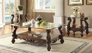 3 piece acme versailles glass top coffee table set cherry With cherry glass top coffee table