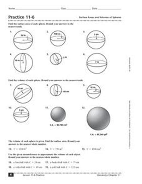 practice 11 6 surface areas and volumes of spheres 8th 12th grade worksheet lesson planet