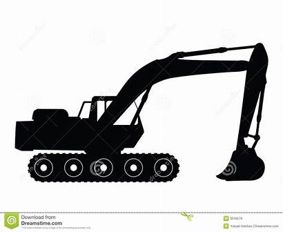 Excavator Vector Clipart Clip Silhouette Bucket Backhoe