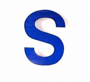 Vintage Industrial Letter S Sign Letter in Blue