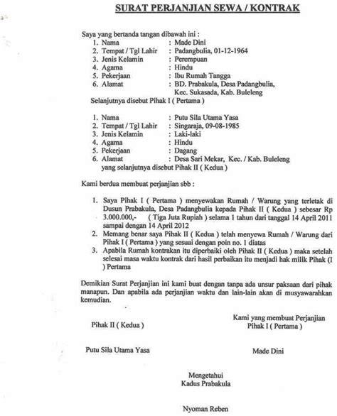contoh surat kontrak rumah materai  benar