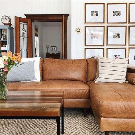 kinsey caramel  leather sectional sofa  struct