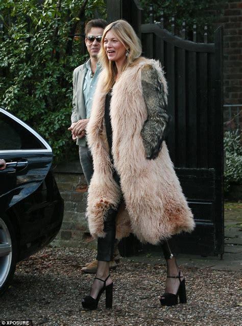 kate moss  makeup   fur  platform sandals shoes post