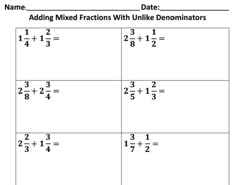 adding and subtracting mixed numbers with unlike