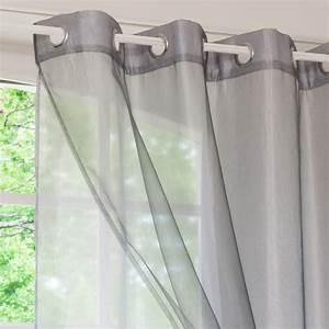 Rideau A Oeillet : rideau double illets gris 140x250 organza maisons du ~ Dallasstarsshop.com Idées de Décoration