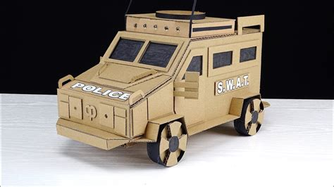 diy police swat armored vehicle truck cardboard toys