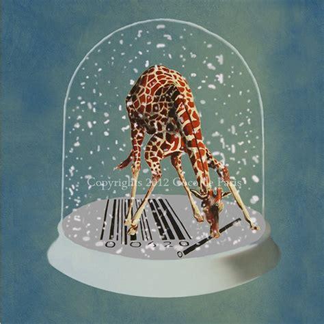 giraffe playing  barcode  snow globe print artwork