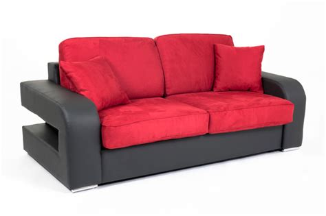 canapé couchage permanent canape convertible couchage 160 cm alban wilma noir micro 34