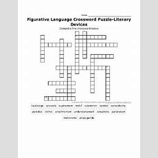 Figurative Language Crossword Puzzleliterary Devices By Roslyn Terre