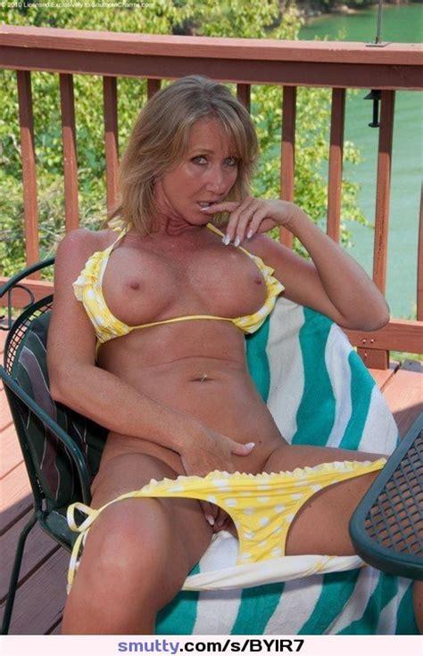 Blonde Milf Mature Bikini Titsout Tanned