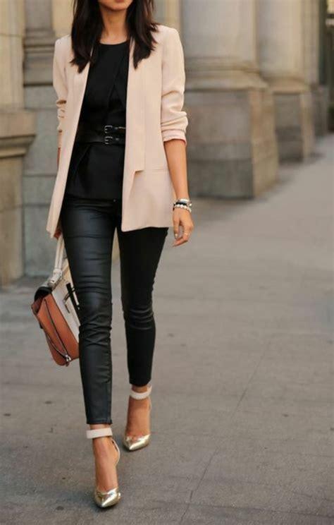 look bureau femme 1001 looks tendance avec le pantalon en cuir femme