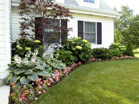 landscape flower beds in front of house a mix of hostas hydrangeas and a japanese maple gardening pinterest bed ideas front