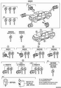 2007 Toyota Tundra Door Lock Cylinder  Keys