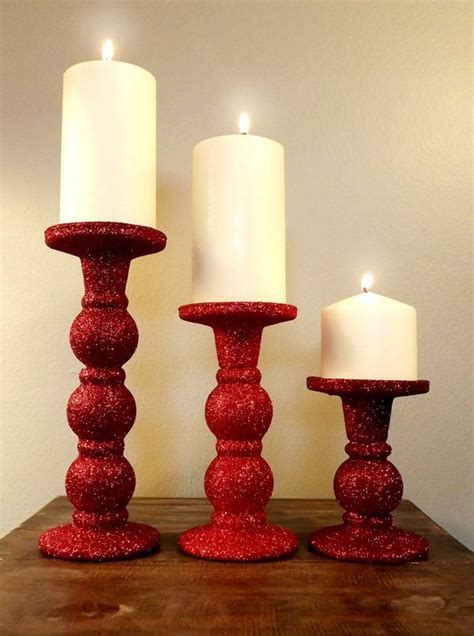 holiday glitter candle holder 3 pillar candle holders