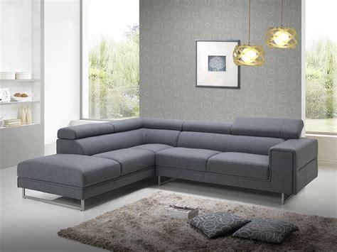 canapé d angle tissu gris canapé d 39 angle design en tissu gris avec tétières 280 cm