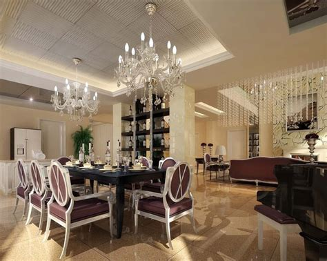 Luxurious Dining Room With Marble Floor Fully Furnished 3d