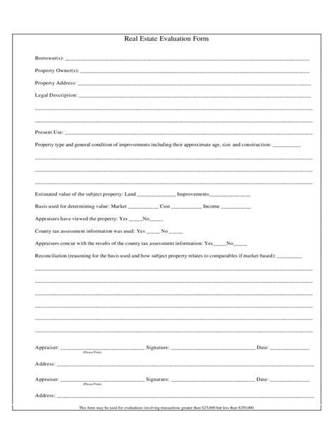 real estate evaluation form   templates