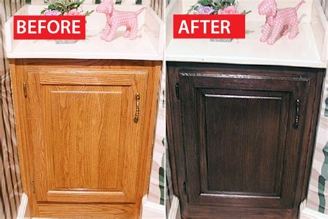 Restaining Oak Cabinets Before And After by Before After A Honey Oak Cabinet Refinished