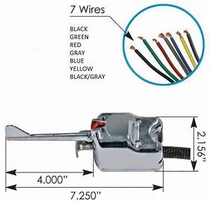Universal 7 Wire Chrome Turn Signal Switch