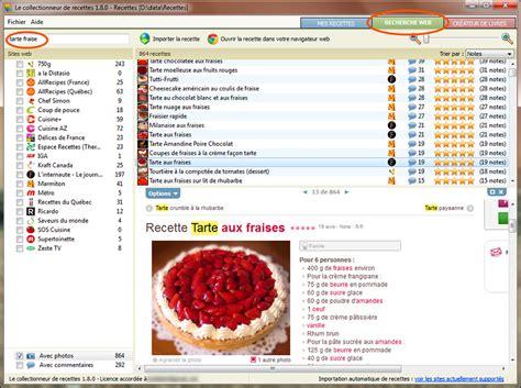 recherche recettes de cuisine section nouvelles logiciel le collectionneur de recettes