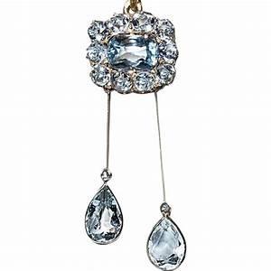 Antique Edwardian Aquamarine Negligee Necklace Pendant ...