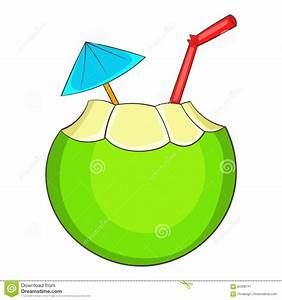 Coconut Cocktail Icon, Cartoon Style Stock Vector - Image ...