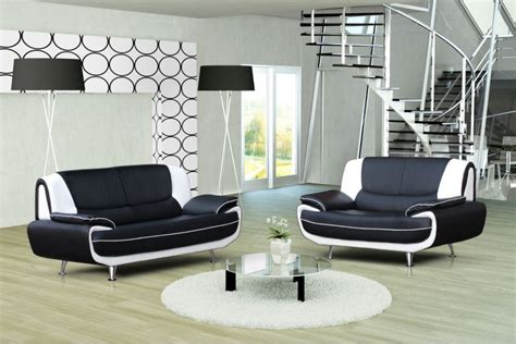 canapé cuir noir design canapé design 3 2 bregga noir blanc noir gris blanc