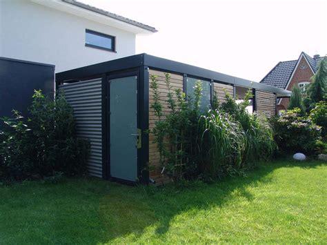 Geräteschuppen Gerätehaus Metall Holz Glas Carport Anbau