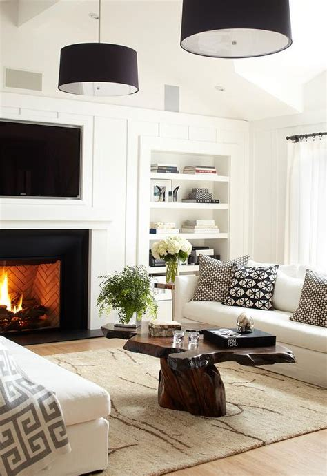 burl table  contemporary black  white living room