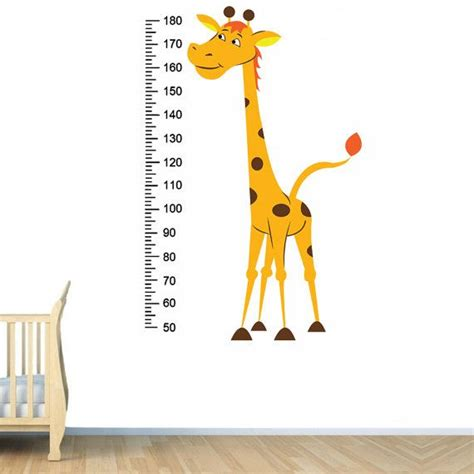 giraffe ruler wall sticker nursery vinyl wall decal giraffe baby growth height