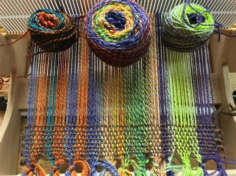 jumping  weaving  hand dyed handspun yarn