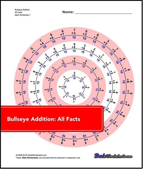 Addition Worksheets! Bullseye Addition   Math facts ...